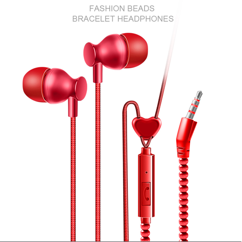 Beads Bracelet Earphone 3.5mm Headphones With Mic In Ear Sport Wired Headset For Universal Phone Pad Gaming MP3 MP4 Couple Gifts