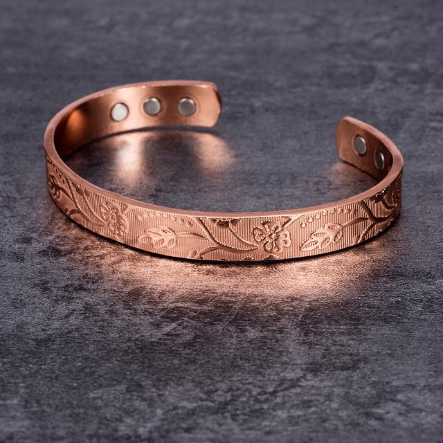 Flower Pattern Pure Copper Magnetic Health Bracelet