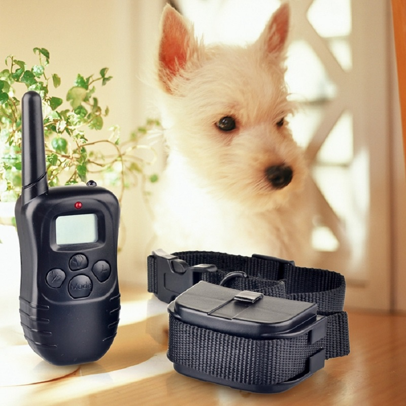 black dog training collar 300m remote control electronic collars LCD display vibrador beep Static shock PET998D for 1 or 2 dogs