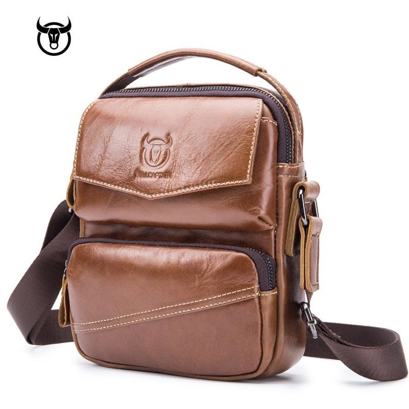 Brand Genuine Leather Men's Bags Crossbody Bags Vintage Cow Leather Man Messenger Bags Shoulder Bag For Male Casual Handbag