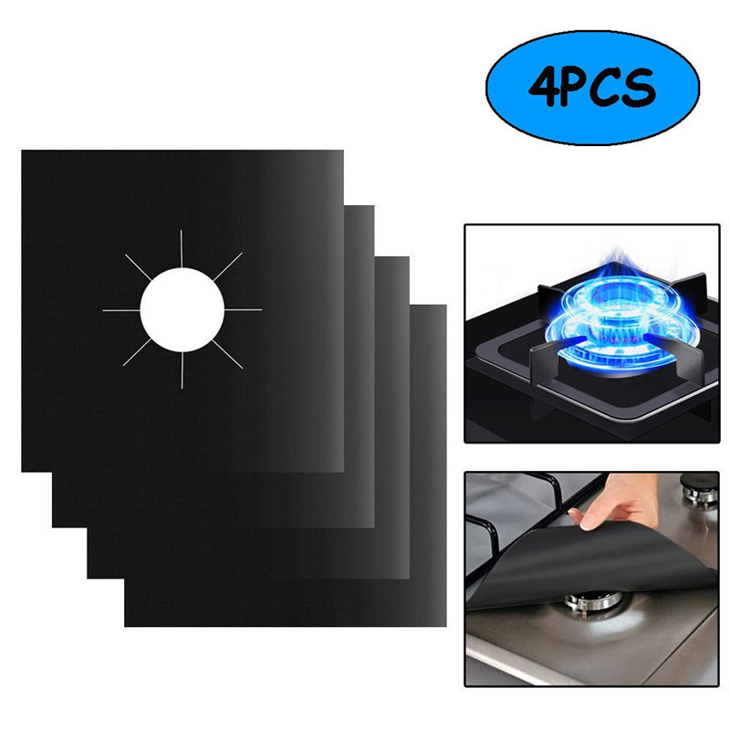 4pcs/set Glass Fiber Gas Stove Protectors Reusable Gas Stove Cover Burner Liner Cooker Mat Pad Fire Injuries Protection Tool