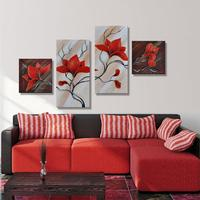 100 Handmade Abstract Beautiful Red Color Flower Painting Oil 4 Piece Canvas Art Set Pictures Modern