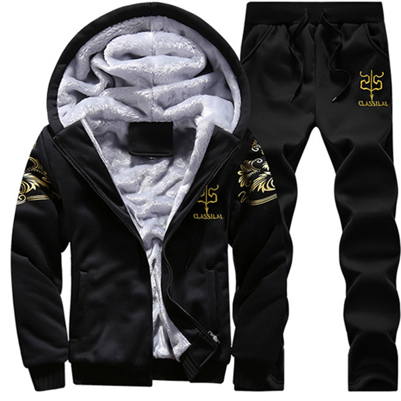 Mens Brand Clothing Mens Jacket Hooded Coat Winter Mens Clothing Set Thicken Velvet Sweatshirts Tracksuits 2pac hoodies 4XL