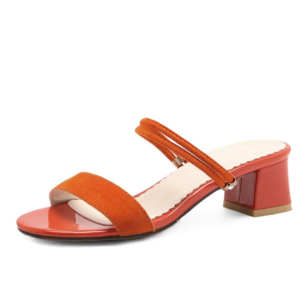New Black Orange Comfortable Women Nude Sandals Med Gladiator Heels Lady Beach Slingback Shoes EH182 Plus Big Size 10 31 45 52