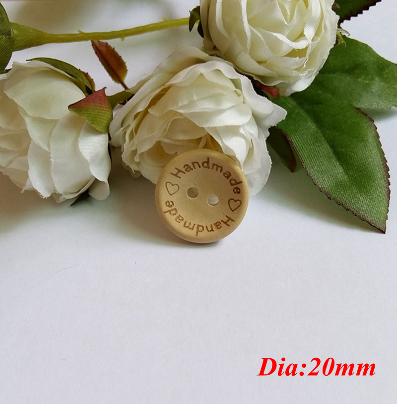 30pcs Mixed Sizes quot Handmade with love quot Wood Buttons craft DIY Handmade Decoration Accessories Crafts Botones Botoes in Buttons from Home amp Garden