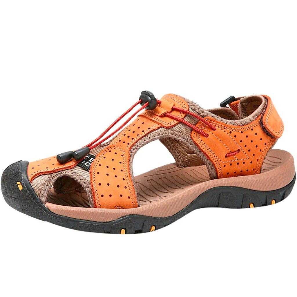 SAGACE 2019 Summer Men's Sandals Casual Outdoor Beach Shoes Genuine Leather Men Sandals Man Chaussure Homme Male Flats
