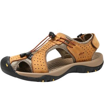 SAGACE 2020 letnie męskie sandały Casual obuwie plażowe oryginalne skórzane męskie sandały męskie chaussure homme męskie płaskie tanie i dobre opinie Podstawowe LEISURE RUBBER Lace-up Niska (1 cm-3 cm) Pasuje prawda na wymiar weź swój normalny rozmiar Na co dzień sandals