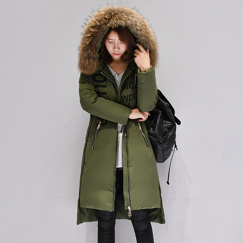 Thickening Women Winter Coat Real Raccoon Fur Collar 2017 New Military Style Long Hoodies Warm Female Down Jacket Snow Wear G82 2017 winter new clothes to overcome the coat of women in the long reed rabbit hair fur fur coat fox raccoon fur collar