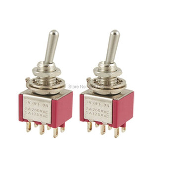 цена на 1 Pcs MTS-203 / MTS-223 AC 250 V 2A 120 V 5A per second ON / OFF / ON 3 position 6 Pins DPDT Toggle Switch