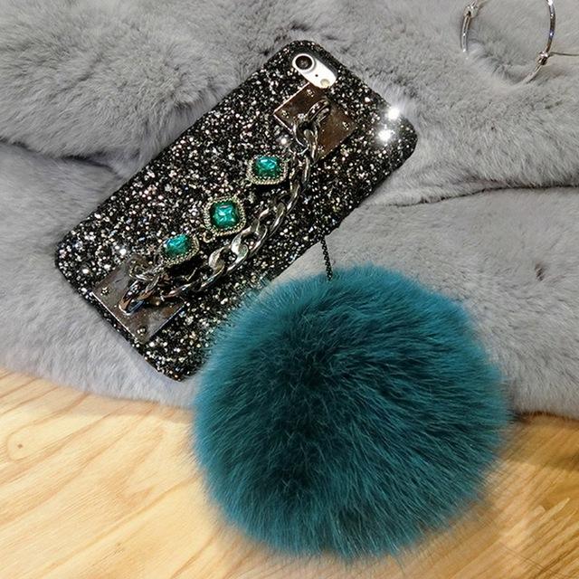 Luxury Rhinestone Fox Fur Ball Glitter Iphone Case