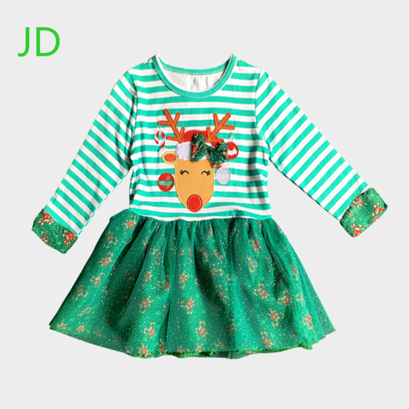 Children Kids Dress Girls Autumn Dot Dress Children Long Sleeved Christmas Stripe Dress Costumes girls dress winter 2016 new children clothing girls long sleeved dress 2 piece knitted dress kids tutu dress for girls costumes