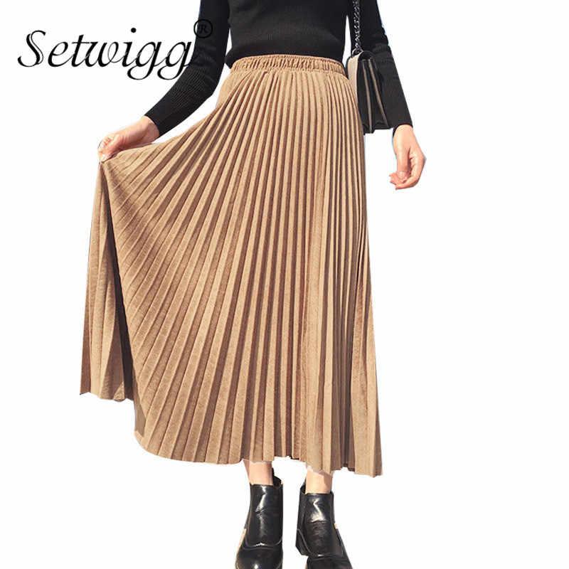 0930113fdb0 Осенняя замшевая плиссированная длинная юбка однотонная женская винтажная  бархатная юбка до середины икры трапециевидной формы длинные