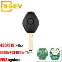 BHKEY 433/315MHz Remote Key For BMW EWS X3 X5 Z3 Z4 1/3/5/7 Series  ID44/PCF7935 Chip Keyless Entry Transmitter stenzhorn 433mhz remote key fob 3button for bmw ews x3 x5 z3 z4 1 3 5 7 series 2002 2003 2004 2005 with hu92 blade without chip