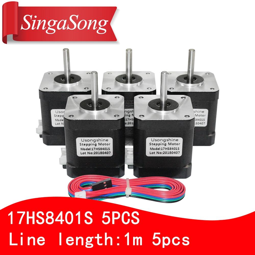 цена на Free shipping 5PCS 4-lead Nema17 Stepper Motor 42 motor 17HS8401S 1.7A CE ROSH ISO CNC Laser and 3D printer with DuPont line