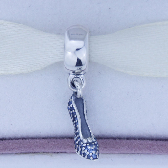 NEW S925 Sterling Silver Sparkling Blue CZ Dangle Slipper Charm Fit European Jewelry Charm Bracelets & Necklaces C467