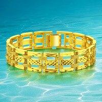 ĐỒ TRANG SỨC Sang Trọng Mạ 24 K Vòng Đeo Tay Vàng & Bangle Wide Surface 15 mét 20 cm Hấp Dẫn Men Jewelry Top Tay Ngh
