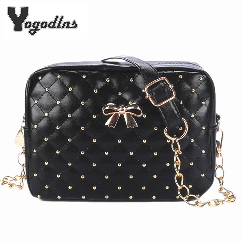 2018 Summer Fashion Women Messenger Bags Rivet Chain Shoulder Bag PU Leather Crossbody Quiled Crown bags metallic pu chain crossbody bag