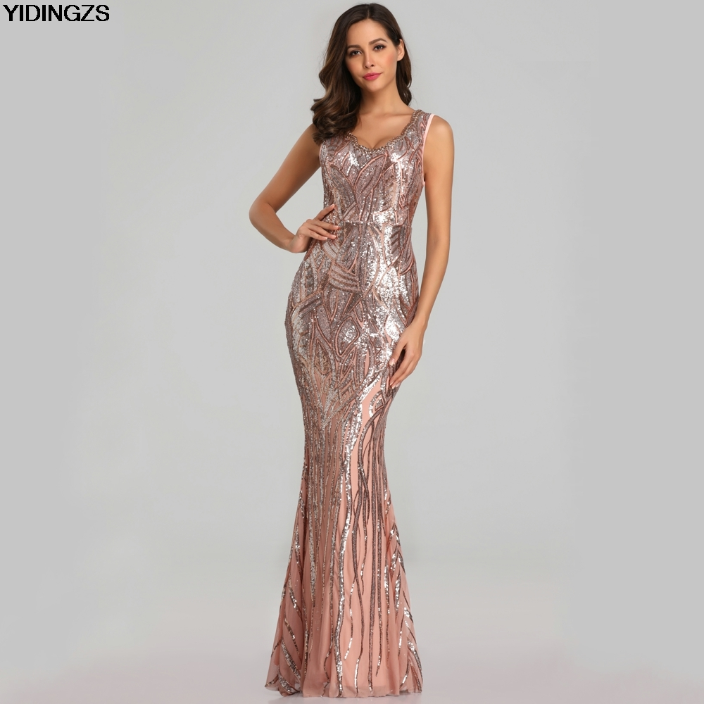 YIDINGZS New Sexy Sequins   Evening     Dress   V-neck Beading Maxi   Dress   Party Prom   Dress