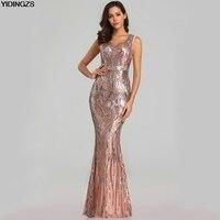 4f037911bb YIDINGZS nuevo Sexy lentejuelas vestidos de noche cuello en V cordón Maxi  vestido de fiesta