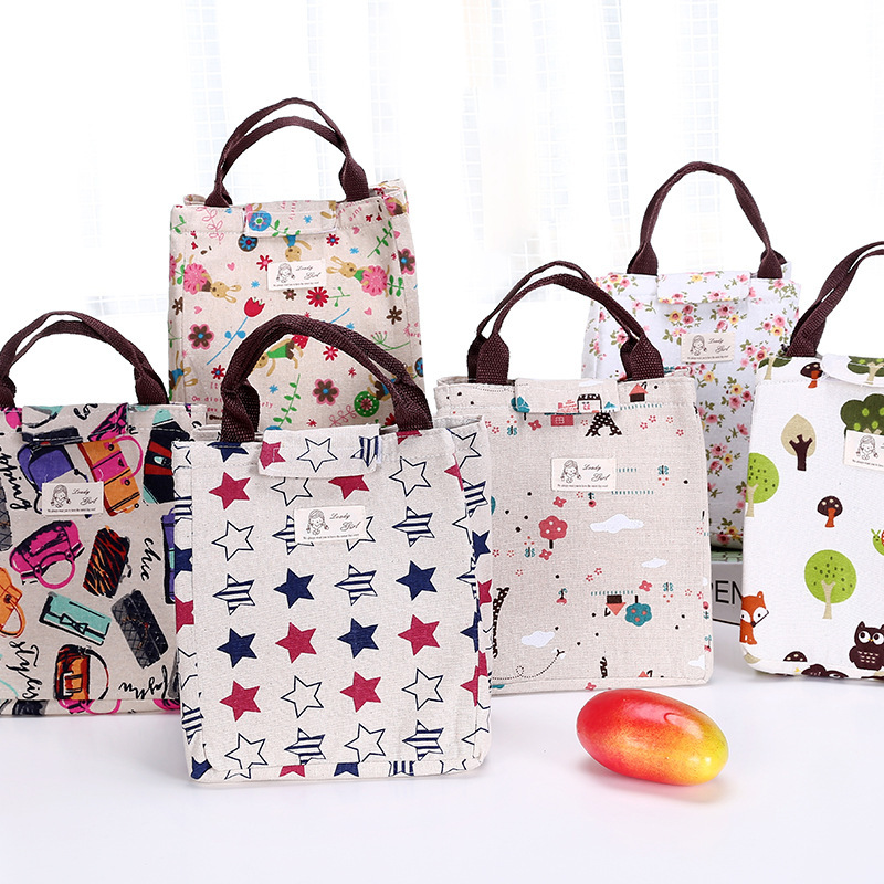 New Fashion Portable Waterproof Women's Picnic Bag Rural Style Stars Rabbit Flowers Bags Canvas Storage Bag Insulation Lunch Bag
