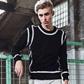 Long Sleeve Men's Tees European Style Fashion Slim Fit Black O-Neck Long Sleeve Pacthwork T Shirt Men 2017 Autumn New Men Tops