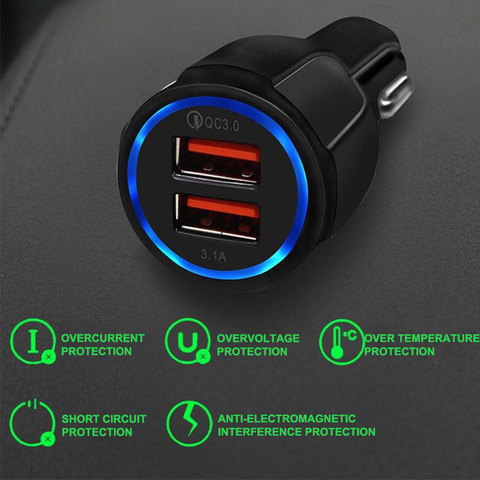 Seametal QC3.0 Car USB Charger Quick Charge Mobile Phone Charger 2 Port USB Fast Charger for iPhone Samsung Tablet Auto Charger Lahore