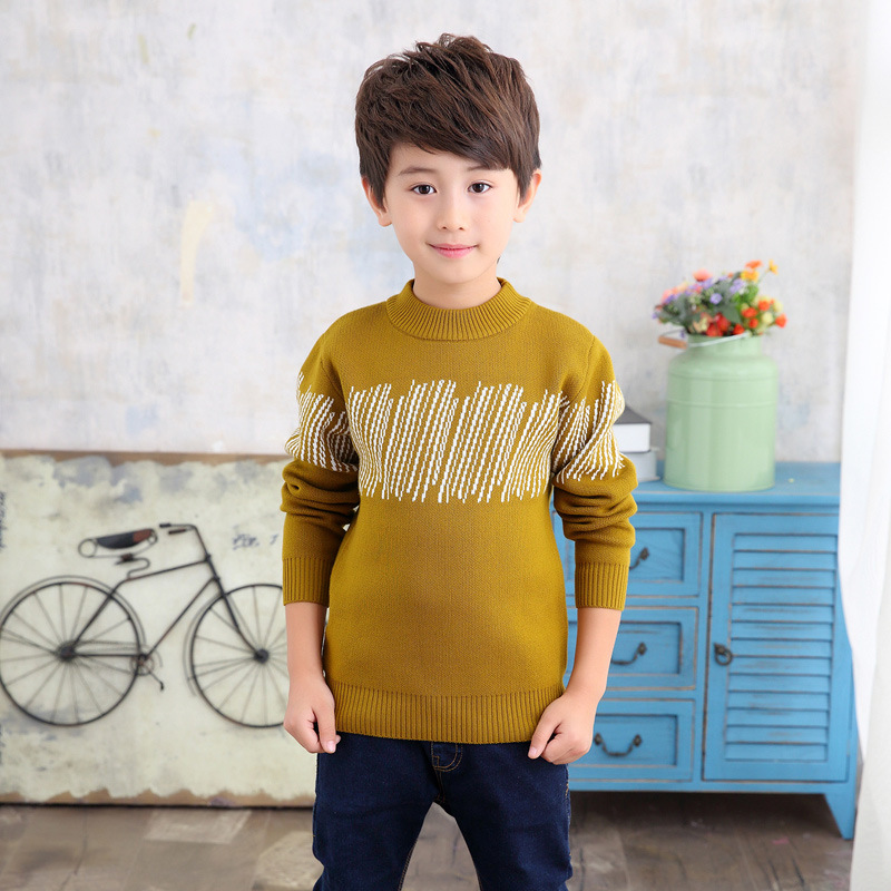 2018 New Baby Boys Knitting Sweater Autumn Winter Kids Long Sleeve Casual O-neck Striped Pullover Top Boys Warm Thick Sweaters pink knitting ripped details v neck long sleeves sweaters