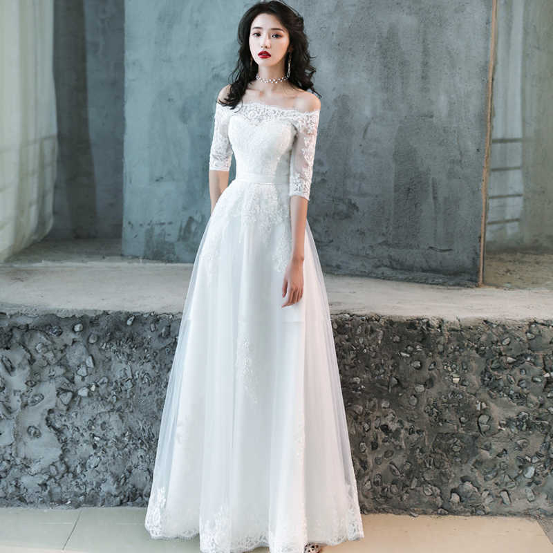 Cheap Lace Wedding Dress Boat Neck Tulle Boho Beach Bridal Gown Bohemian Wedding Gowns Robe De Mariage Simple A Line