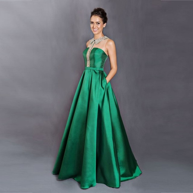 4973624d46 unique latest design beaded collar ruched long green prom dress 2017 silk  satin formal evening gown with pockets