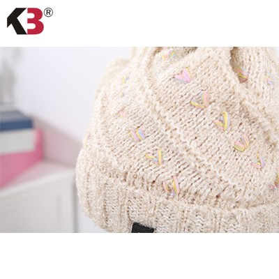 Women Cable Knit Pom Pom Bobble Beanie Hat Fashion Ball Top Winter Knit Hat (4)