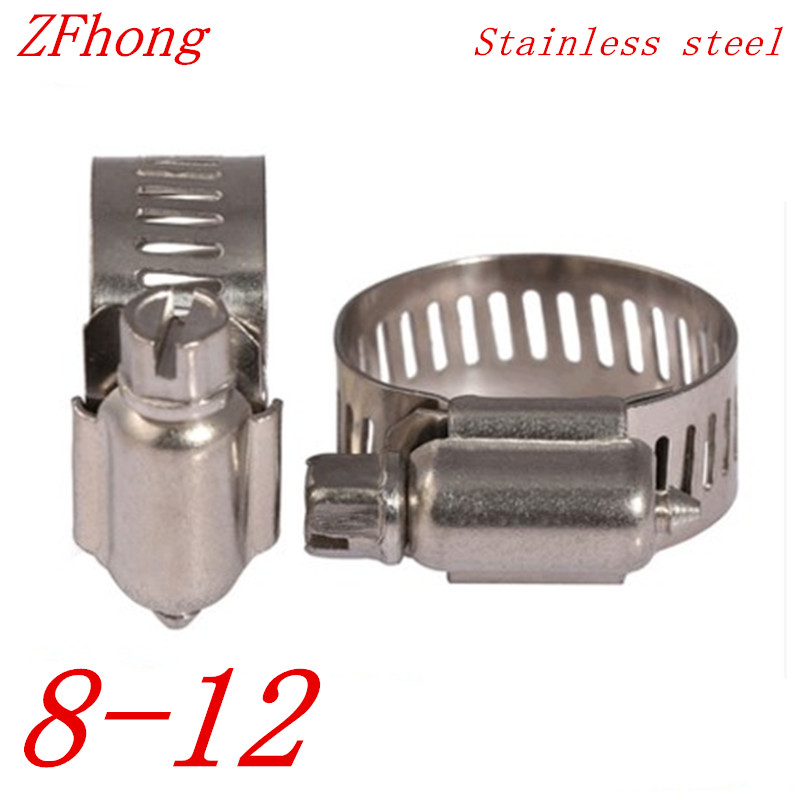 10pcs 8mm to 12mm 8-12mm Adjustable Stainless Steel Drive Hose Clamps Fuel Line Worm Clip new 34pcs carbon steel worm gear adjustable hose clamps assortment set 16mm 32mm