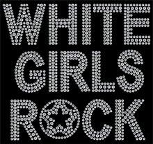 White Girls Rock Hot Fix Iron on Rhinestone Transfer Applique Patch sticker hot fix rhinestone transfer motifs rhinestones