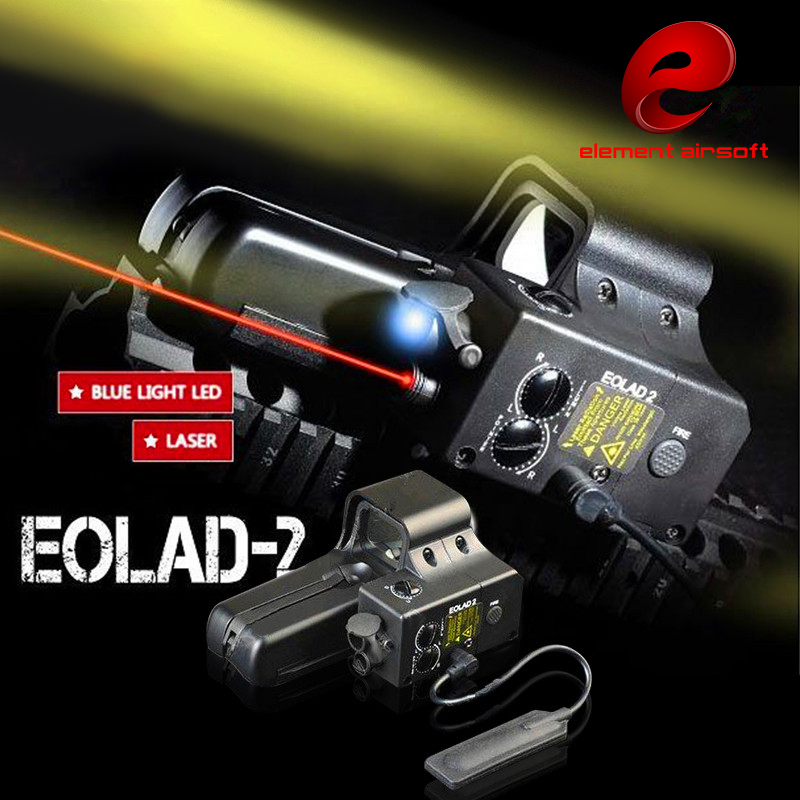 Airsoft Rifle Sights Eolad 2 Laser Device Illuminator with 522 Red Laser and Blue Illuminator Red Dot Scopes for Hunting EX187 aimpoint or similar scopes sights 4x magnifier scope for airsoft use with 551 552 553 556 558