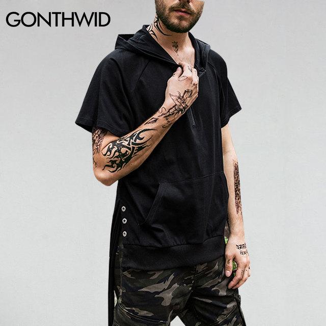 5b8404857 GONTHWID Front Zipper T-Shirt Hoodies Mens Hip Hop Pocket Short Sleeve Tops  Tee Male Fashion Side String Curved Hem T Shirts