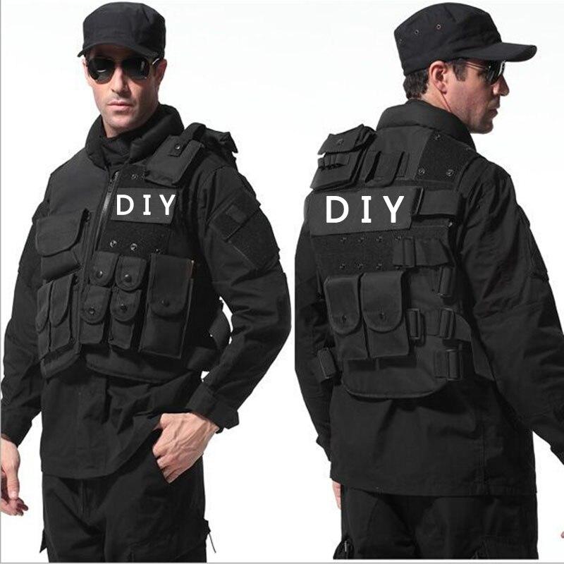 Man's Tactical vest Molle Tactical Black Vest CS Game Protective Equipment Multi-pockets Military Fans Sports Training Combat protective black vest 7 62 black wallet one pair