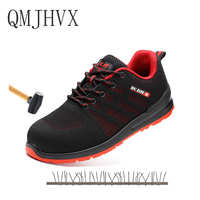 QMJHVX Safety Shoes For Men Steel Toe cap Boots Outdoor lightweight Prevent Puncture Steel Bottom Construction Safety Work Shoes