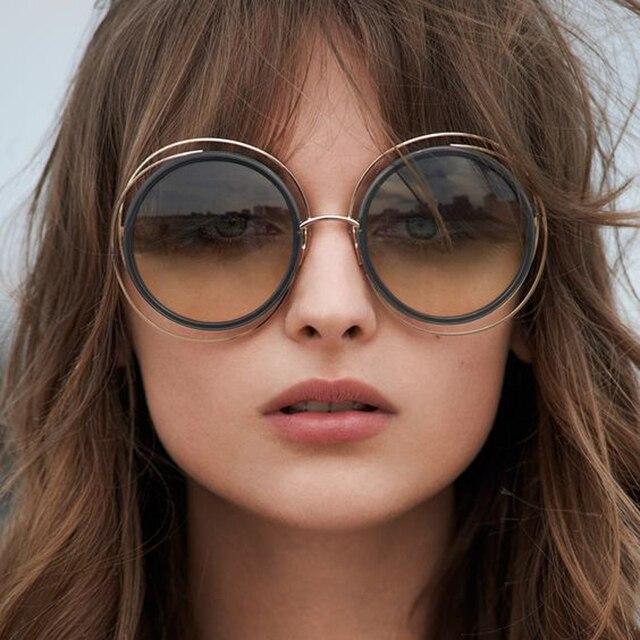 e41210692 TESIA Óculos de sol redondo, óculos de sol Carlina tamanho grande Marca  Designer feminino,