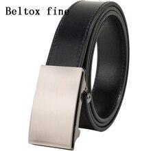 Mens Premium Full Grain Leather Belt No Ratchet Automatic Buckle 1 3/8 Designer Cassic Belts for men Dress Ceinture