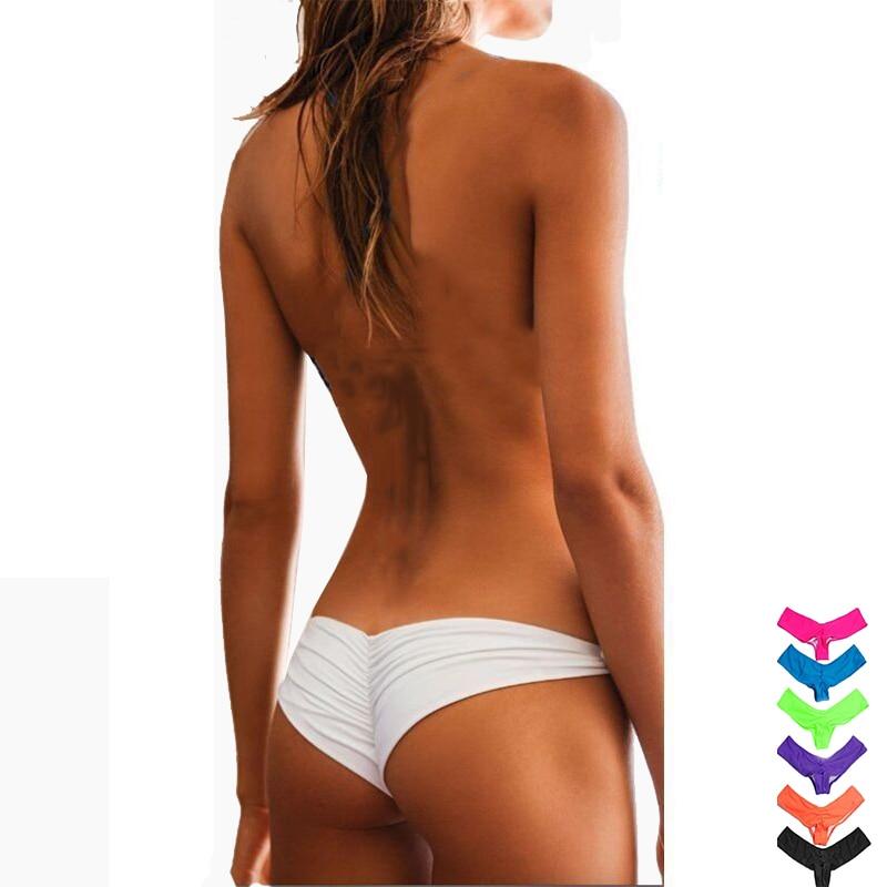 8 Colors Sexy Women Bikini Bottoms V Cheeky Ruched T-Back Swimsuit Swimwear Biquini Brazilian Low Waist Bottom Drop Shipping
