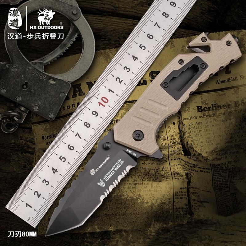 HX extérieur couteau pliant pour Camping outils chasse couteaux tactiques, lame en acier 9cr18mov, 60HRC, G10 + poignée en acier livraison directe