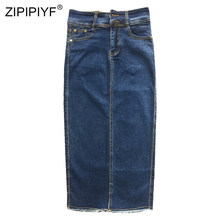 2018 Big size Denim Skirt for Women Vintage High waist Faldas Arrival Mid-calf Jupe Female Plus Size Skirts 4XL(China)