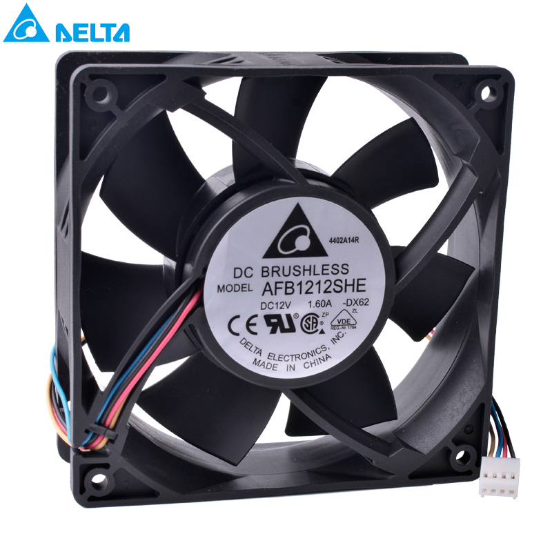 Free Shipping DELTA AFB1212SHE 12CM 12038 120x120x38mm 12V 1.6A 4-wire 4Pin PWM double ball bearing high volume air cooling fan computer water cooling fan delta pfc1212de 12038 12v 3a 12cm strong breeze big air volume violent fan