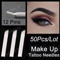 50 Unids/lote Cuchillas 12 Pines Agujas de Tatuaje Maquillaje Permanente de Cejas Bisel Blanco Bordado Hojas Para Microblading Manual Del Tatuaje