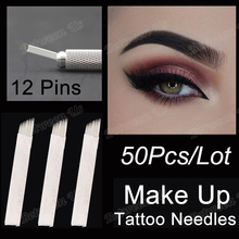 50PCS/Lot White Blades 12 Pins Bevel Tattoo Needles Permanent Makeup Eyebrow Embroidery Blades For Microblading Manual Tattoo