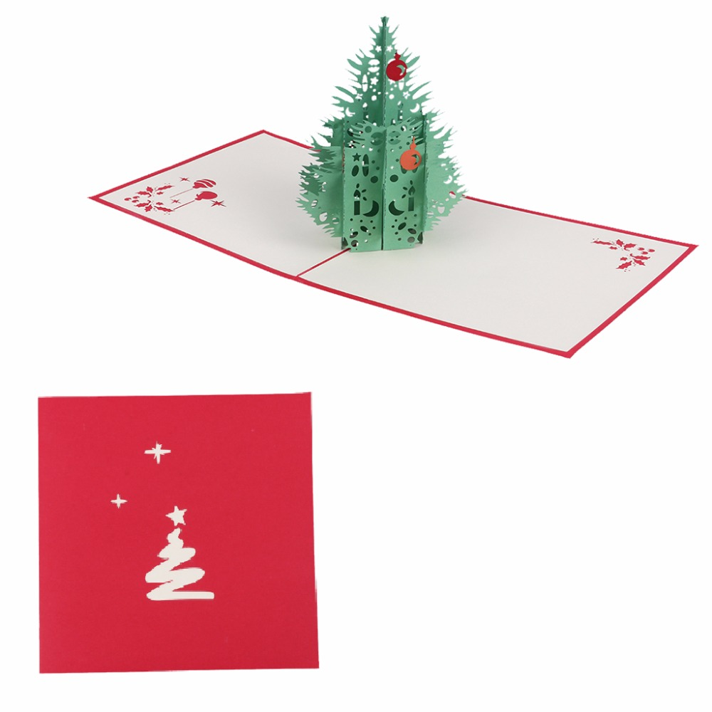 3D Pop Up Handmade Hollow Christmas Tree Greeting Card New Year Xmas ...