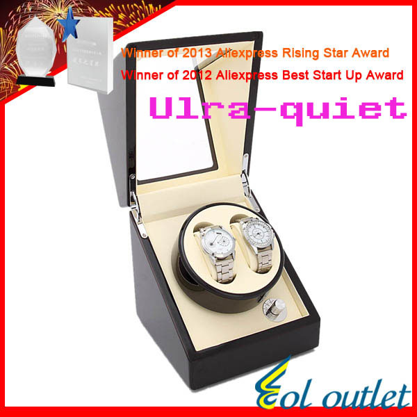 Superior Quality Ultra-quiet Motor Watch Winder for Automatic Mechanical Watch for 2 watches ultra luxury 2 3 5 modes german motor watch winder white color wooden black pu leater inside automatic watch winder