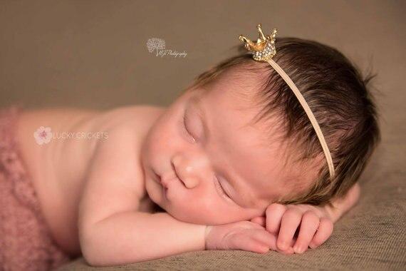 New Baby Girls Gold Crown Headband Newborn Crown Tiara Hairband Toddler Headband   Headwear   Hair Accessory Photo Props
