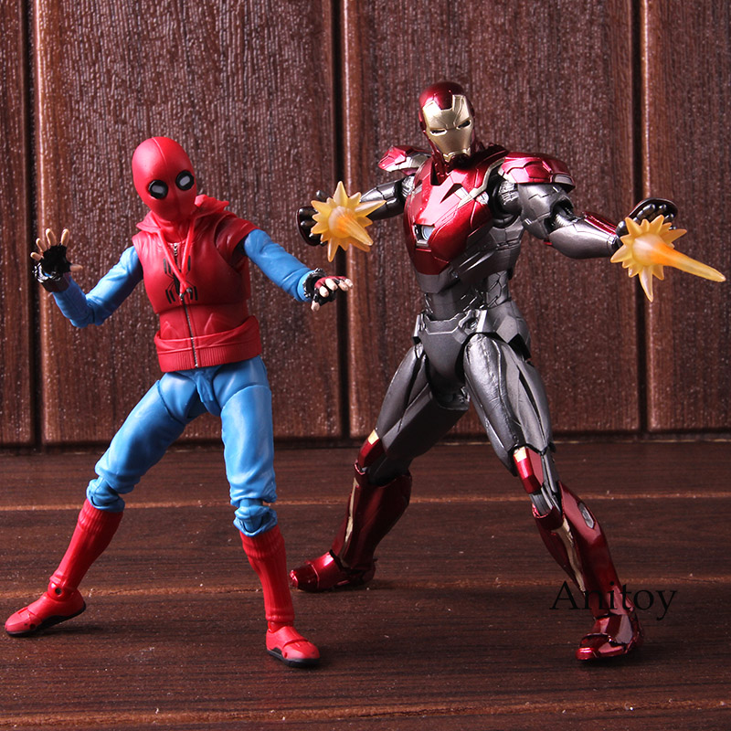 SHF S. H. Figuarts Spider Man costume fait maison Ver. Et Iron Man MK47 PVC Spiderman retour figurine modèle jouet de collection