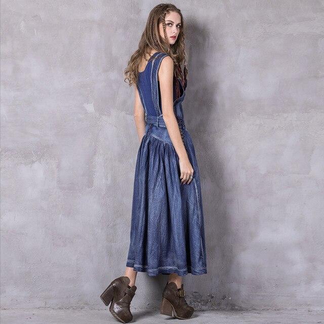 Primavera Vintage Gran Vestido Pieza Ropa Correas Bordado Blue Tamaño Falda Verano De Y Nueva Una Moda Collar Borla Denim EPgqwRB