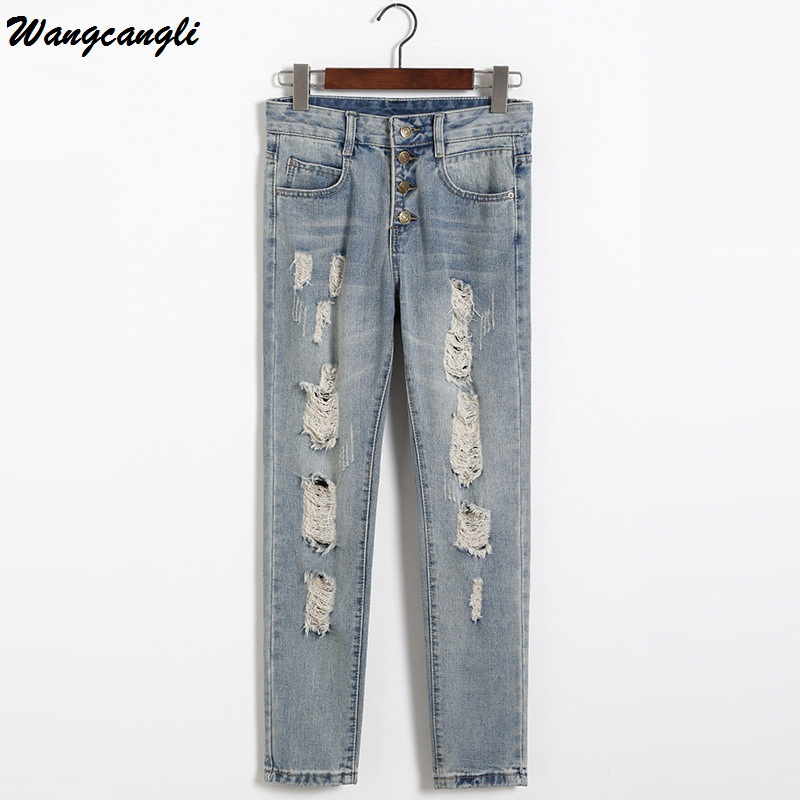 Wangcangli Summer Ankle Length Jeans for Women Jeans Denim Ripped Holes Mid Waist Denim Hole Casual